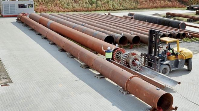 Mit der neuen Winde werden auf dem Testfeld in Lingen Inspektionsgeräte für die Risserkennung in Hochdruck-Gasleitungen kalibriert. Foto: Rosen-Gruppe